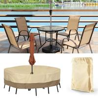 Waterproof Outdoor Patio Garden Round Table Cover Garden Furniture Duse Cover Protection Dustproof Cover with Umbrella Hole