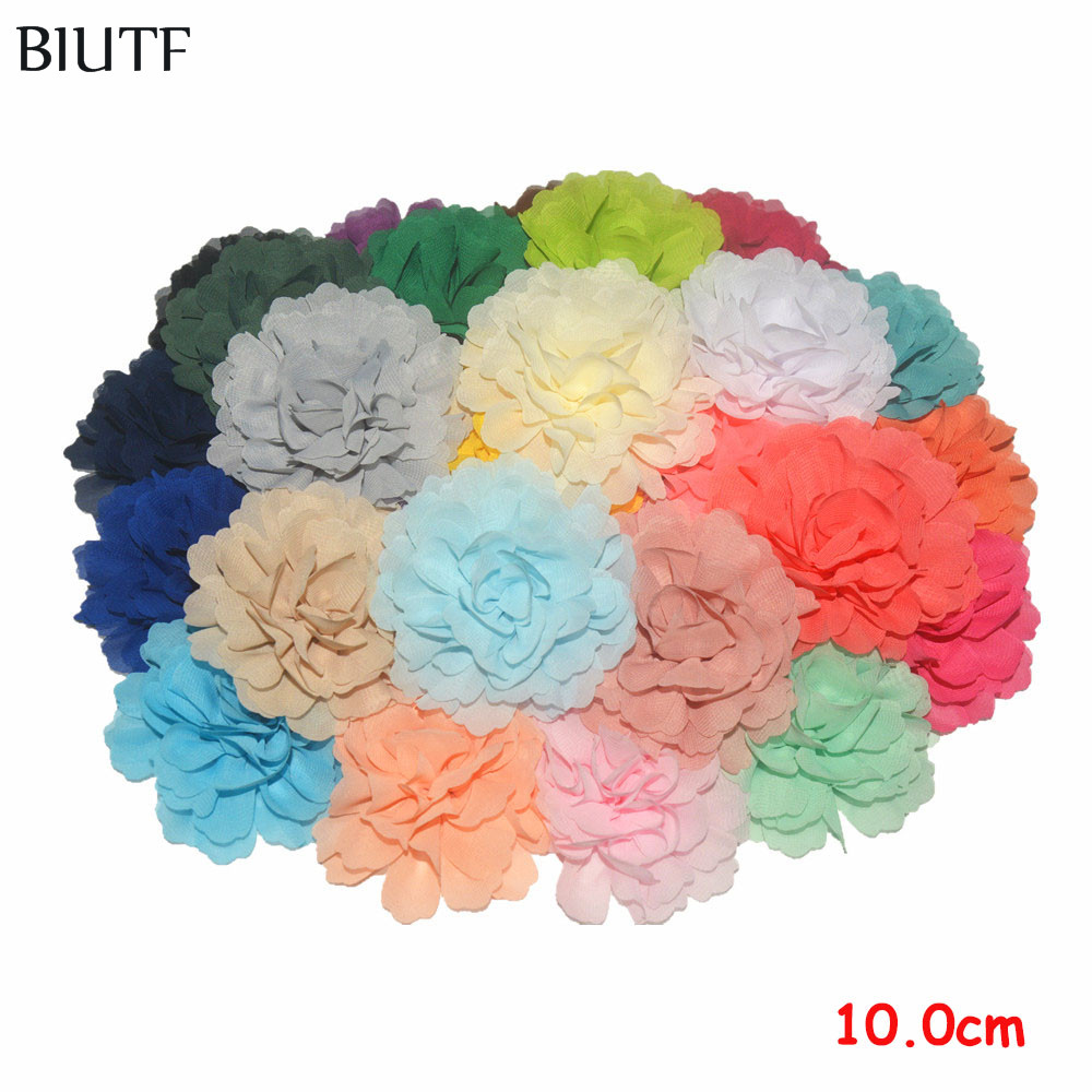 100pcs lot Solid Bright Color Riffled Chiffon Flower With Alloy Hair Clip Girl Headwear Accessories TH245