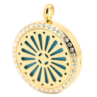 30mm Crystal New Style Gold Aromatherapy Essential Oil Surgical Stainless Steel Perfume Diffuser Locket Necklace Pendant