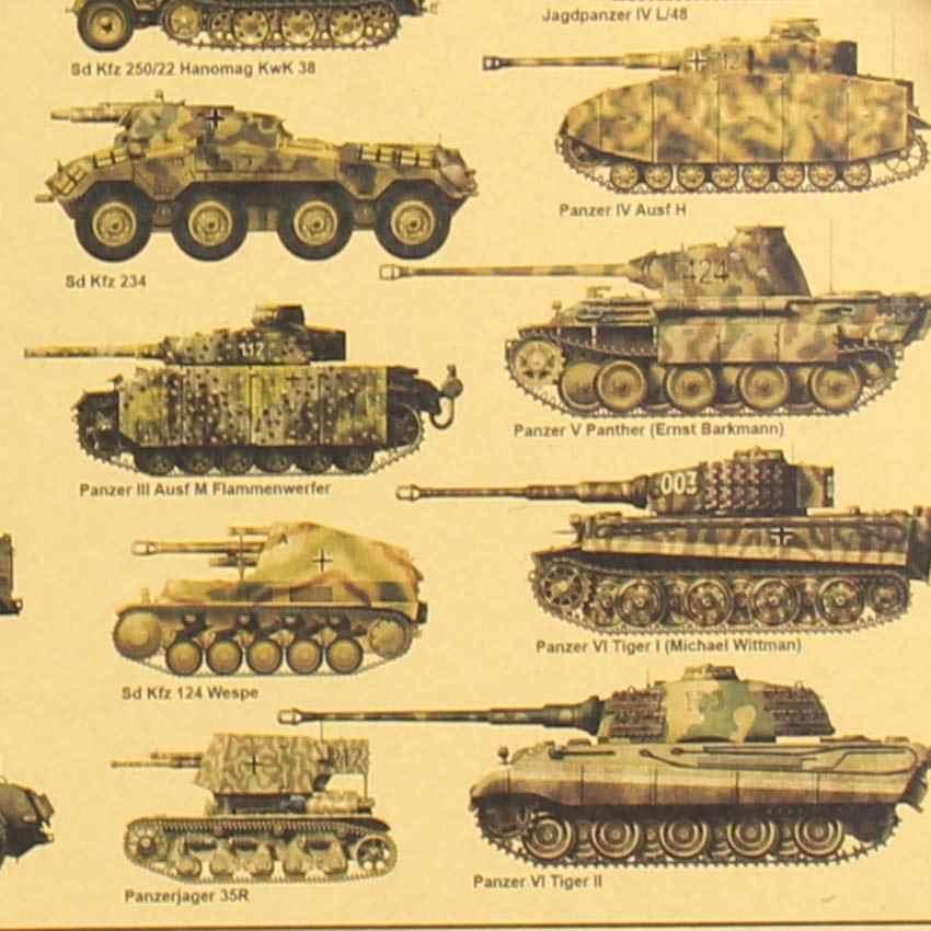 الحرب العالمية الثانية تانك الملصقات ريترو كرافت ورقة الجدار ملصق الفن الحرف بار مقهى 51.5*36 سم