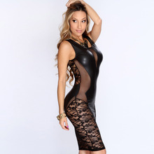 2016 New Sexy Fashion Women Dress Black Faux Leather Floral Lace Mesh Little Black Club Dress LC21643