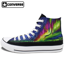 High Top Converse Chuck Taylor Nebula Aurora Original Design Hand Painted Shoes Man Woman Custom Canvas Sneakers Women Men Gifts