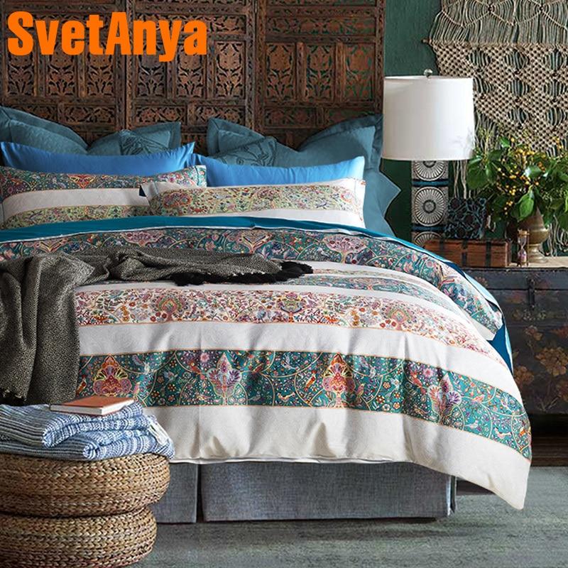 Svetanya Egyptian Cotton Colorful Bedding Sets Bedsheet Pillowcases Duvet cover set Twin Queen King Double Size