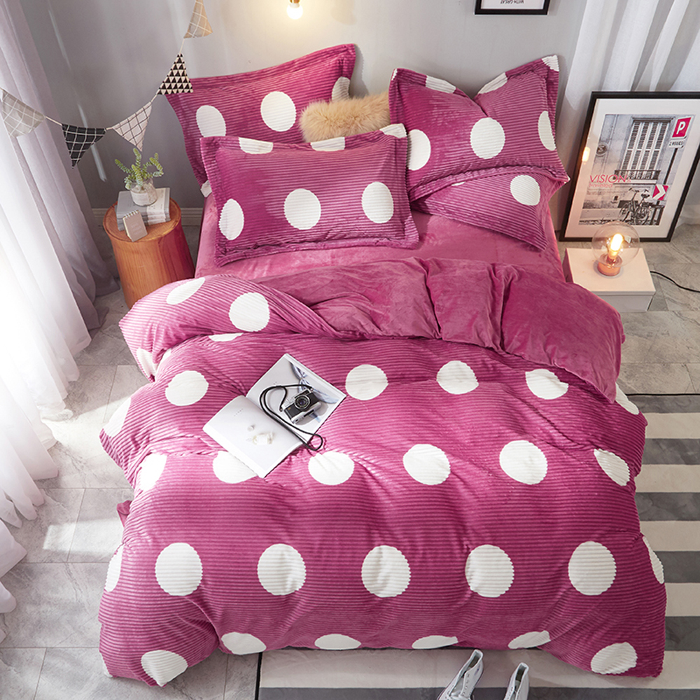 2018 White Dots Pink Stripes Bed Covers Microfiber Fleece Bedlinens Winter Thick Warm Queen King Size Duvet Cover Set2018 White Dots Pink Stripes Bed Covers Microfiber Fleece Bedlinens Winter Thick Warm Queen King Size Duvet Cover Set