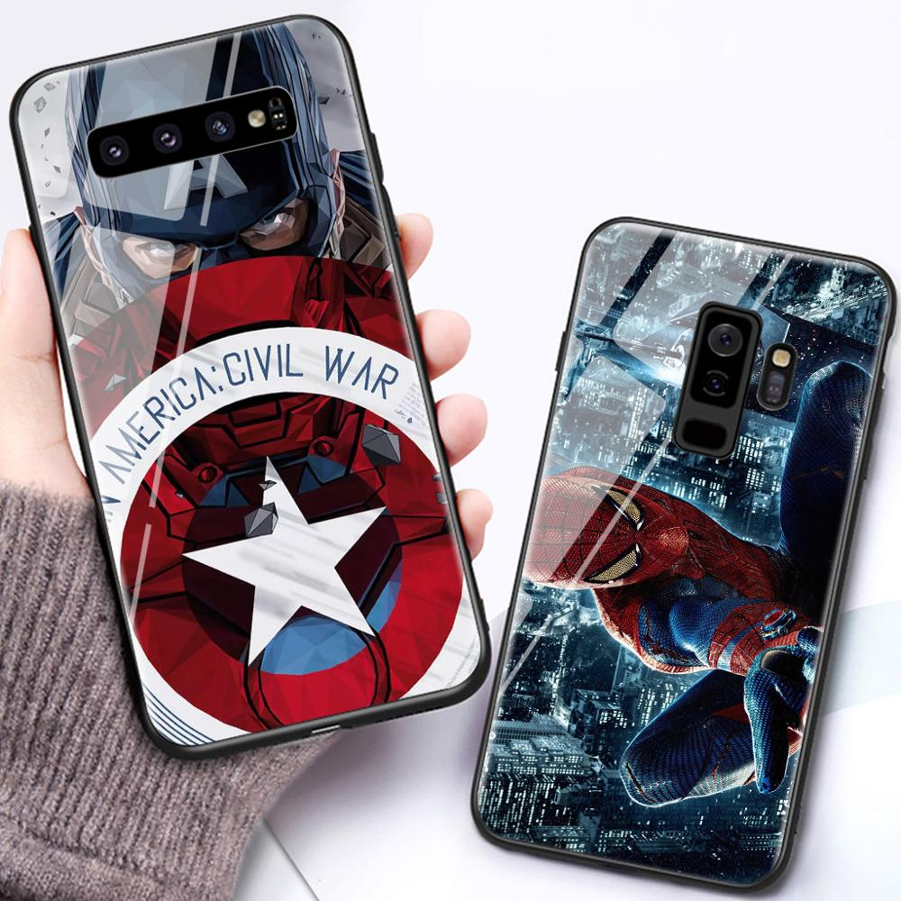Phone-Case Marvel Glass Coque Back-Cover Note8 Plus-Edge Samsung S8 For Galaxy S6 S7