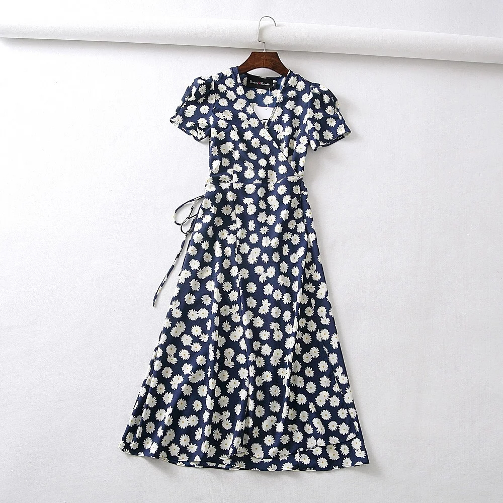 Summer flower dot print wrap dress women short sleeve chiffon beach dress korean fashion work vestidos v neck party midi dress 13