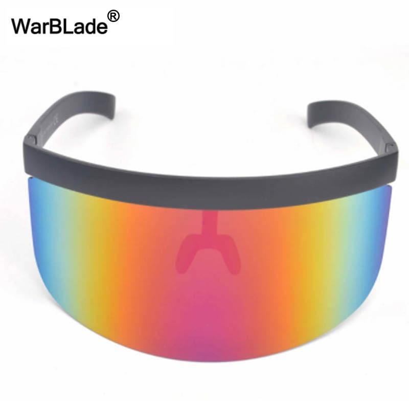 Image 3 - WarBLade New Oversized Shield Visor Sunglasses Women Designer Big Goggle Frame Mirror Sun Glasses Shades Men Windproof Eyewear-in Men's Sunglasses from Apparel Accessories
