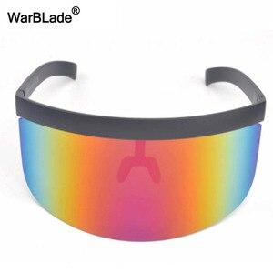 Image 3 - WarBLade yeni büyük boy kalkan siperliği güneş gözlüğü kadın tasarımcı büyük gözlüğü çerçeve ayna güneş gözlüğü tonları erkekler rüzgar geçirmez gözlük