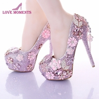 Newest Fashion Pink Wedding Dress Shoes Luxury Bridal Shoes Crystal Rhinestone Shoes Handmade Unique Design Shoes