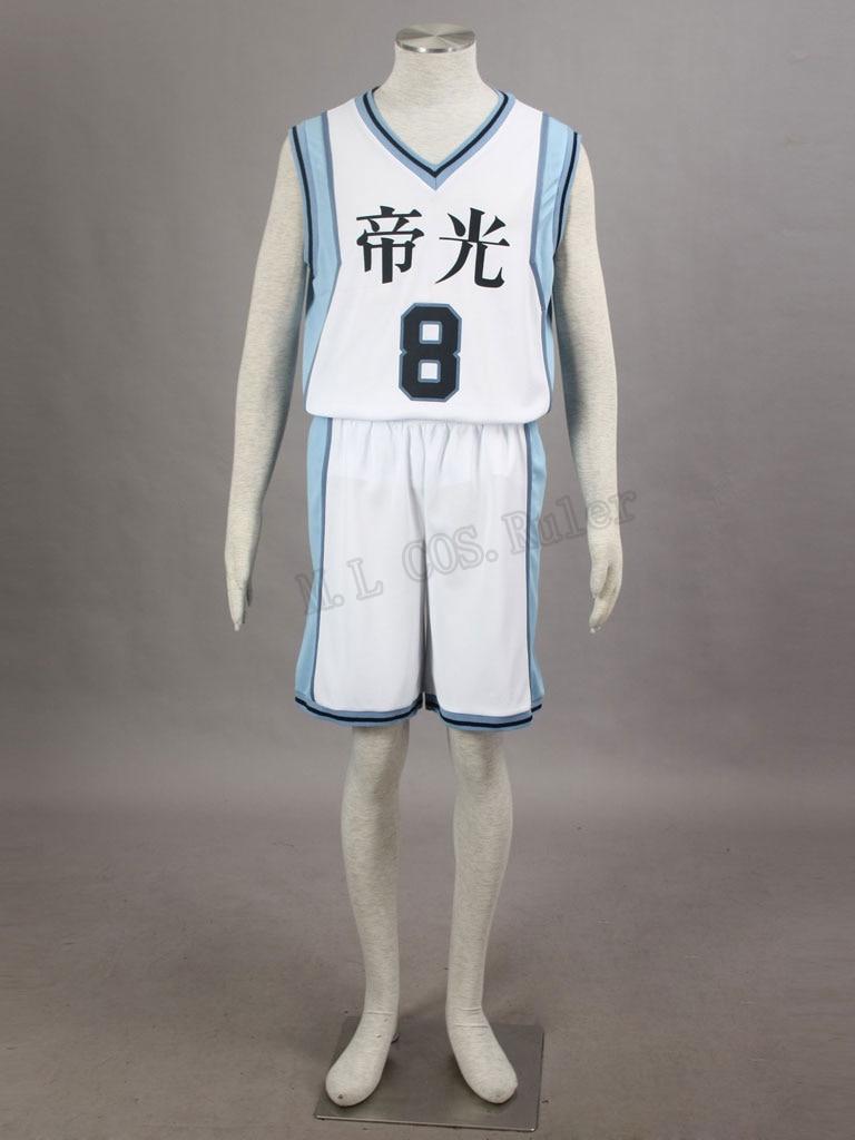 Full Suit High School Uniform Costume Cosplay Kuroko no Basuke Kise Ryota NO.8 Costume Sports Wear Clothes Free Shipping
