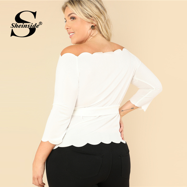 Sheinside Off the Shoulder Plus Size Beige Workwear Top Stretchy Petal Sleeve Belted Women Elegant Autumn Blouse 1