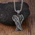 Mprainbow Men Necklaces Stainless Steel Gothic Vintage Double Angel Wings Pendant Collier Kolye Mens Fashion Biker Jewelry 24""