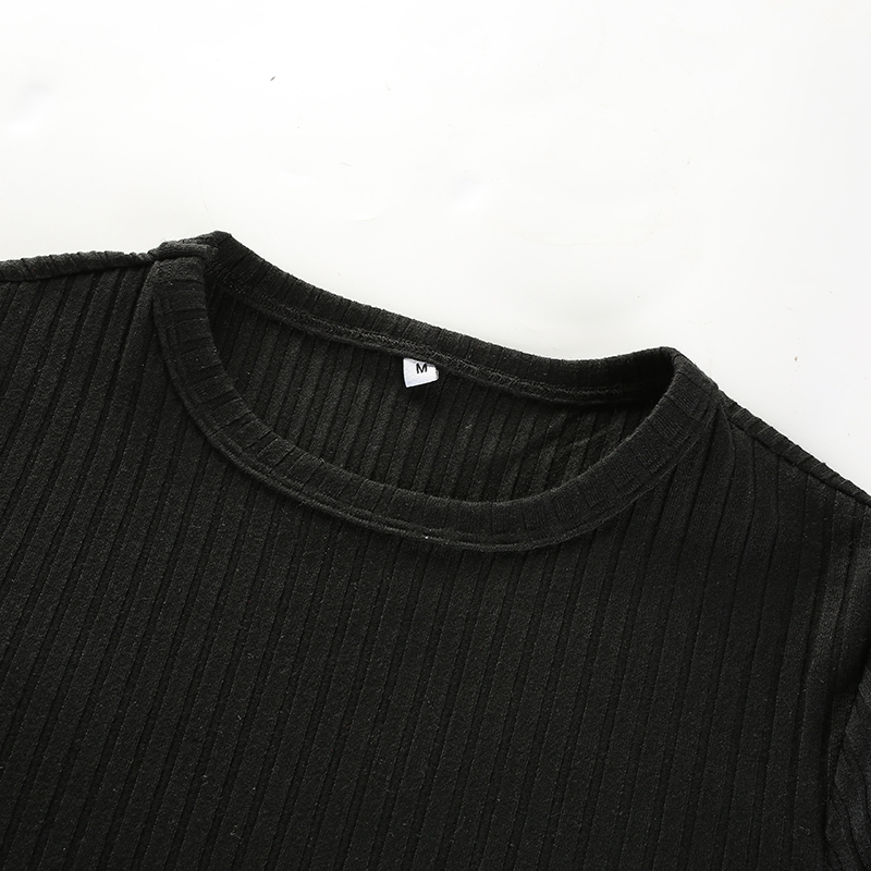 9Sweetown Harajuku Autumn Winter Tshirt Black Korean Fashion Side Zipper Split Shirt Women Striped Crop Top Long Sleeve T Shirt