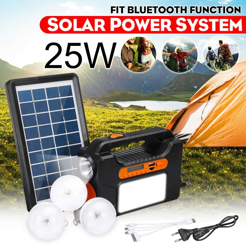 USB Charger System Solar Power Panel Generator Kit+bluetooth Radio+3 LED Bulb Light For Home Outdoor Emergency Charging Lighting