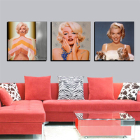 3 Piece Wall Art Marilyn Monroe Figure Paintings The Painting On The Wall Home Decor Film