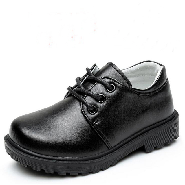 2017 New Children Leather Shoes For Boys Shoes Black Flat Dancing Lace Up PU Genuine Leather School Students Shoes