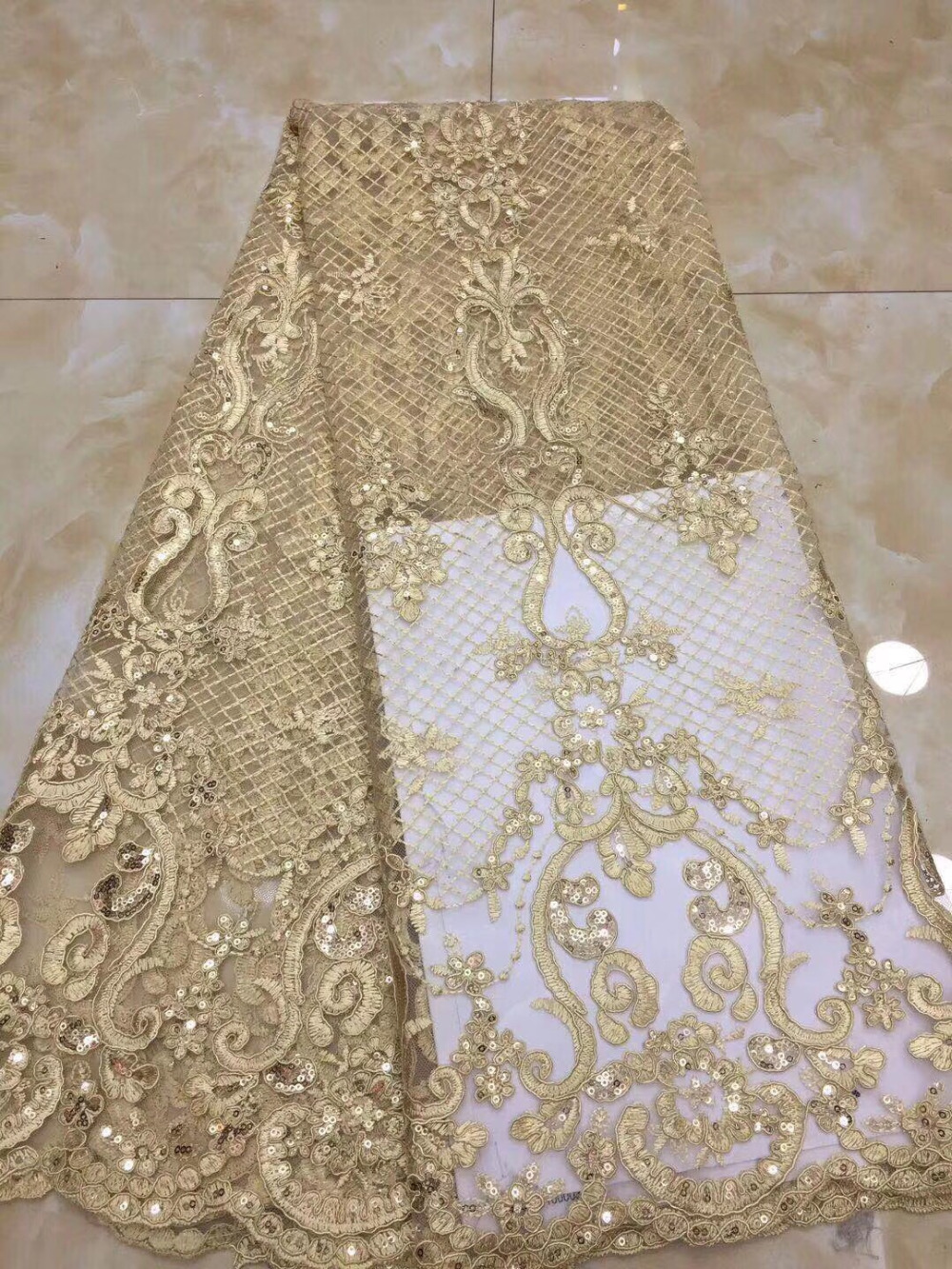 2018 Fashion African Lace Fabric Gold Sequins Materials French lace Nigerian Tulle Lace Fabric For Wedding