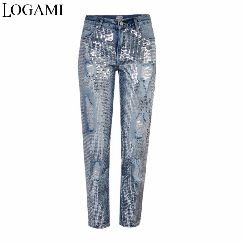 LOGAMI Ripped   Jeans   for Women Vintage Straight   Jeans   Woman Denim Pants Light Blue