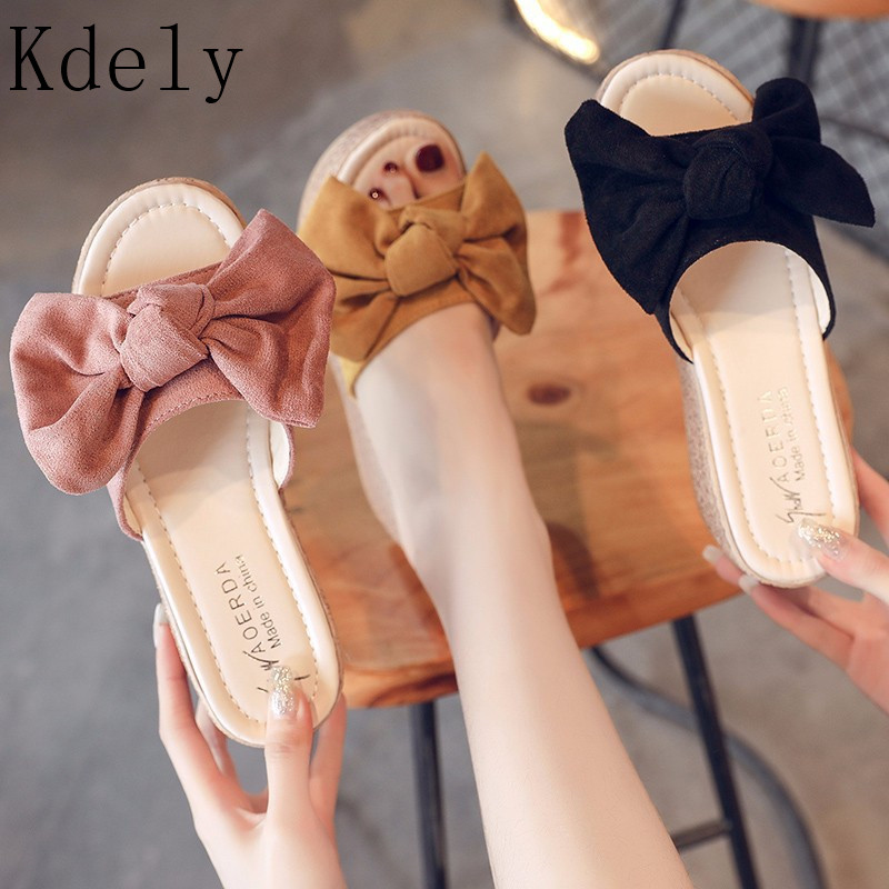 Big Bowtie Woman Beach Flip Flops Summer Sandals Slip- Resistant Slippers Platform Sandals Size 35-40