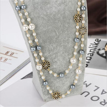 CX-Shirling Double Layers Colorful Beads Long Necklaces New Design Fashion Brand Sweater Chain Flower Necklace Women Accessories