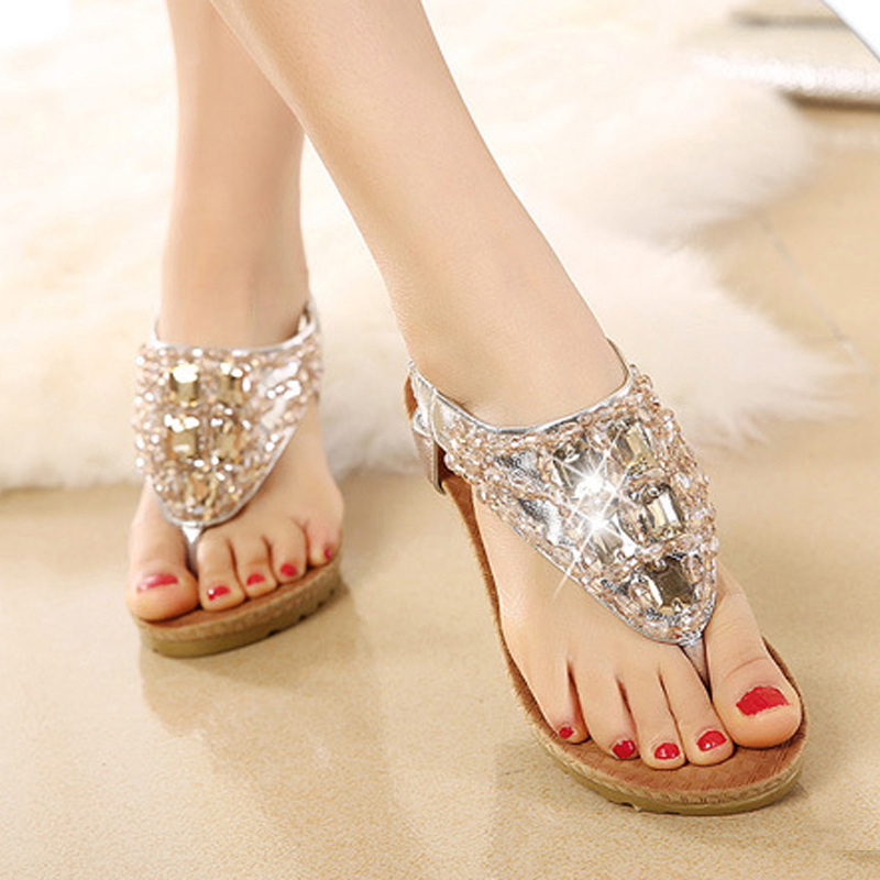 Women shoes 2018 new fashion sandals Bohemian high-heeled shoes Europe and the United States Rhinestone flip flops sandal BT532 europe and the united states 2015 new spring shoes and high heeled shoes asakuchi pointy suede 35 41 code