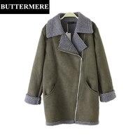 BUTTERMERE 3XL Big Size Women Suede Parka Army Green Zippers New Elegant Jacket Coat Winter Autumn