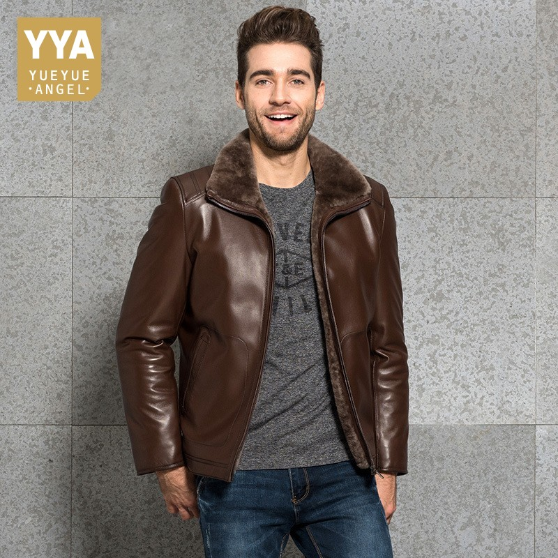 Pelzkragen Futter Brown Schaffell Punk Leder Männlichen Büro Jacke Echtes Luxus blue Mäntel Blazer Wolle Mantel Winter Biker black Herren Top Qualität xBwqPIUU4