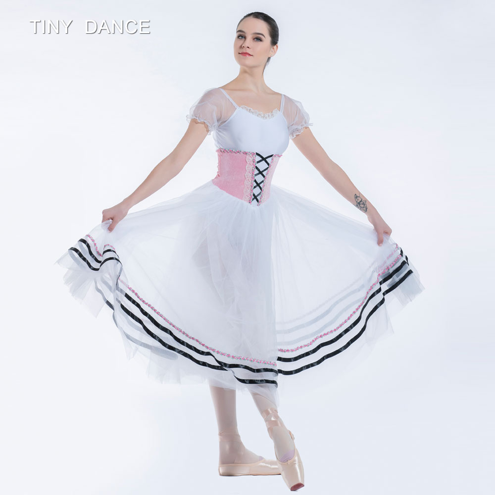 Pink & White Long Ballet Dance Tutu Dress for Child and ...