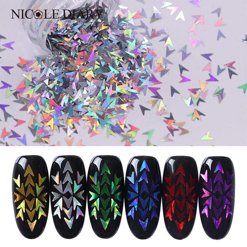 6 Boxes Holographic Nail Sequins Set Laser V-shaped Flakies Paillette Manicure Nail Art 3D Decorations Kit