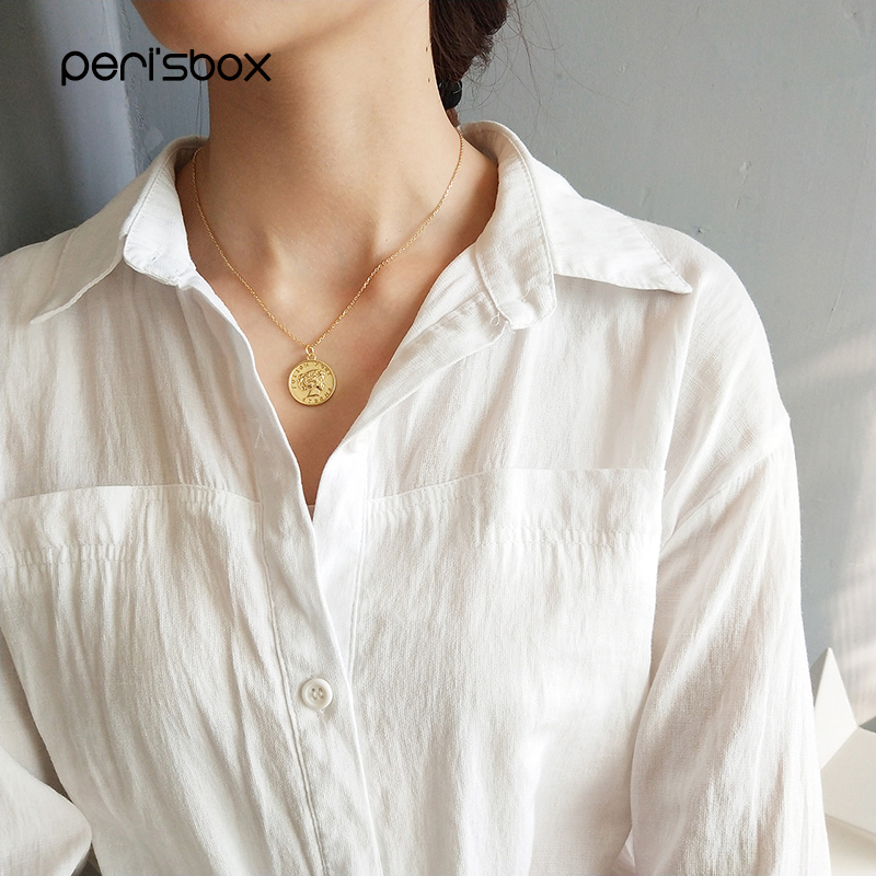 Peri'sBox Gold Color Portrait Coin Pendant Necklaces 925 Sterling Sliver Round Disc Chain Chokers Minimalist Necklace for Women цены