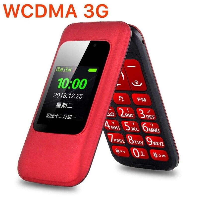 Déverrouiller 3G WCDMA Flip Senior fonction téléphone Mobile double affichage SOS appel rapide DV grande clé russe simplement travailler pour les personnes âgées