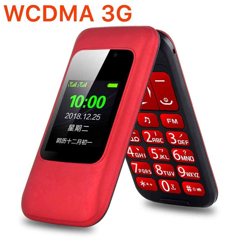 Unlock 3G WCDMA Flip Senior Feature Mobile Phone Dual Display SOS Quick Call DV Large Russian Key Simply Working For Old People