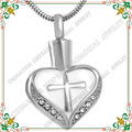 CMJ8098 UNY Hot sale! Stainless steel cremation pendant jewelry cross in heart funeral urn ashes pendant Necklace