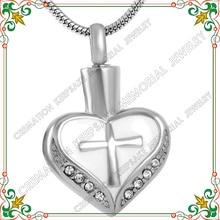 CMJ8098 UNY Горячие предложения! нержавеющая сталь кремации кулон ювелирные изделия крест в сердце погребальной урны пепел кулон Ожерелье