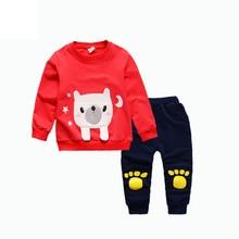 купить Baby Boy Girl Clothes Fashion Children Bear T-shirt Pants 2Pcs/Sets Kids Cartoon Clothing Suits Spring Autumn Toddler Tracksuits недорого