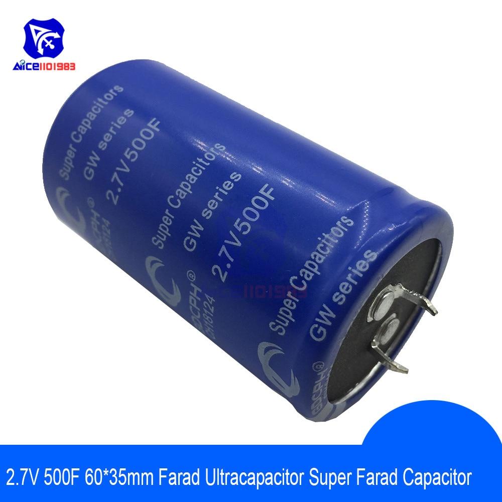 Super Capacitor 2.7V 500F 60*35mm Low ESR High Frequency Super Farad Capacitor 2.7V500F 60x35mm For Car Auto Power Supply