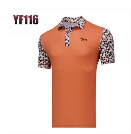 PGM Mens Short Sleeve Golf printing T-shirt Breathable Sportswear Spring Summer Men Breathable elastic quick dry polo shirts
