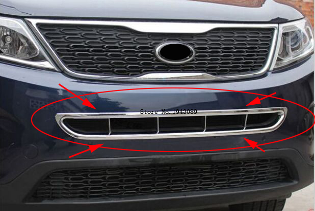 High Quality! New 13 For kia Sorento 2013 2014 2015 ABS Chrome Front Under Center Grill Grille Cover Trim hj high quality for toyota highlander 2015 2016 car cover bumper engine abs chrome trims front grid grill grille frame edge 1pcs