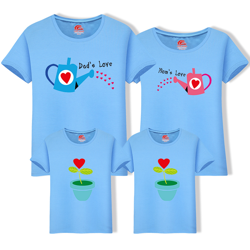 HTB1kmohnY1YBuNjSszeq6yblFXau - Matching Family Clothing 1 piece Family Cultivate Love Summer Short-sleeve T-shirt Outfits For Mother Daughter And Father Son