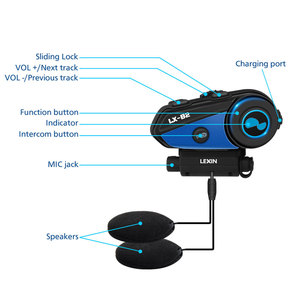 Image 2 - Newest Lexin B2 Motorcycle Bluetooth Helmet Headsets Intercom BT Wireless Interphone intercomunicador bluetooth para motocicleta