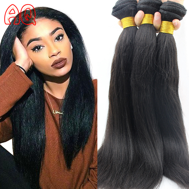 Indian Yaki Straight Weave Human Hair 3 Bundles Raw Virgin Indian