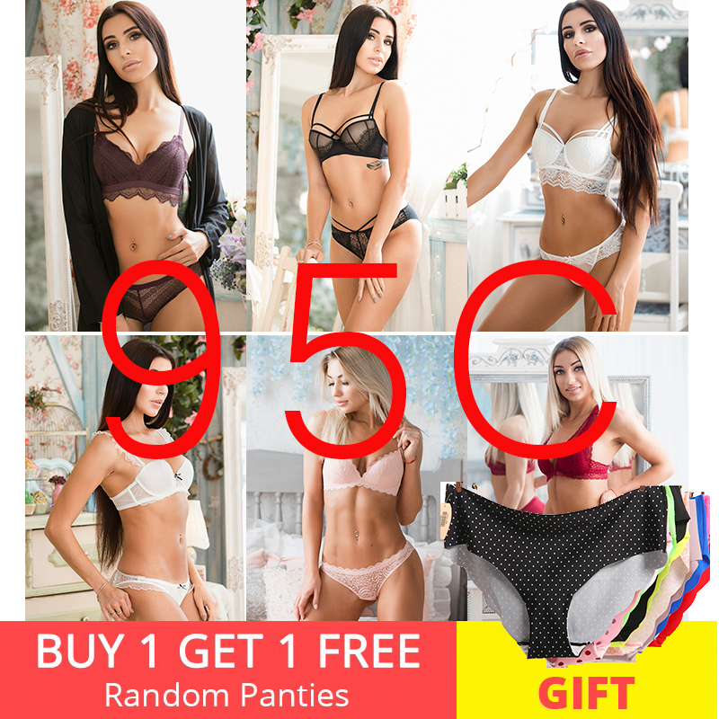 95C   Bra     set   Buy More Big Discount Sexy Lace transparent thin cup   Bra   panties Women Breathable Comfortable Underwear
