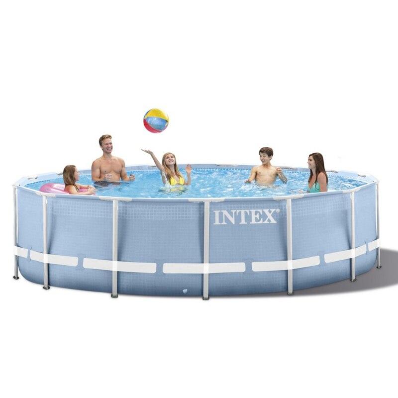 INTEX 305*76 centímetros Rodada Quadro Conjunto de 2019 modelo de Piscina Acima Do Solo Lagoa Piscina Família Piscina Bomba Do Filtro Da Bomba de metal frame estrutura piscina