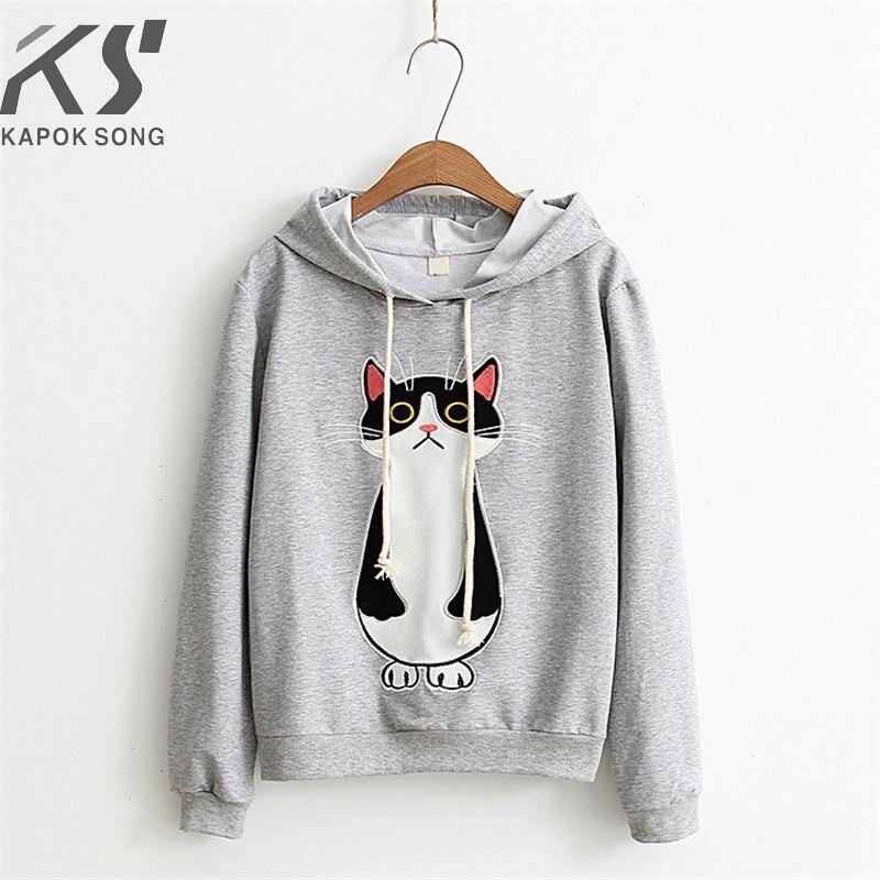 Frauen hoodies katze cartoon langarm hoody damen kleid baumwolle fashional pullover baumwolle hoody regelmäßige avarage größe kleidung-in Hoodies & Sweatshirts aus Damenbekleidung bei  Gruppe 1