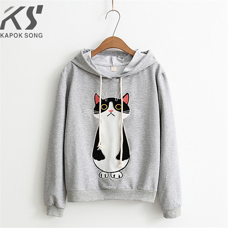 Women Hoodies Cat Cartoon Long Sleeve  Hoody Ladies Dress Cotton Fashional  Pullovers Cotton Hoody Regular Avarage Size Clothes