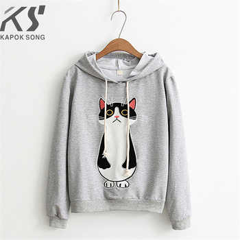 women hoodies cat cartoon long sleeve  hoody ladies dress cotton fashional  pullovers cotton hoody regular avarage size clothes - DISCOUNT ITEM  0% OFF All Category