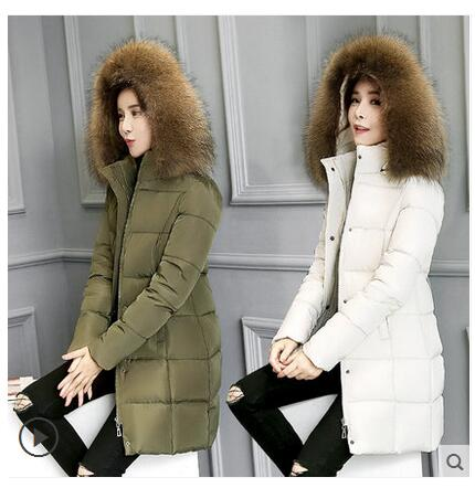 2017 autumn and winter women's women's large fur collar coat long coat thickening warm Korean version of the cotton suit Slim la 2017 winter new clothes to overcome the coat of women in the long reed rabbit hair fur fur coat fox raccoon fur collar