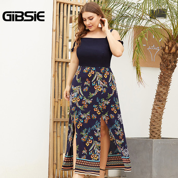 GIBSIE Plus Size Ruffle Strap Print Patchwork Slit Long Dress 2019 Summer Women Casual Sleeveless High Waist Maxi Dress