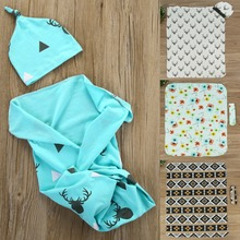 Puseky 2 Pcs Fashion Toddler Newborn Baby Boy Girl Warm Soft Cotton Blankets+Lovely Hat Cute Deer Stretch Wrap Swaddle Blanket