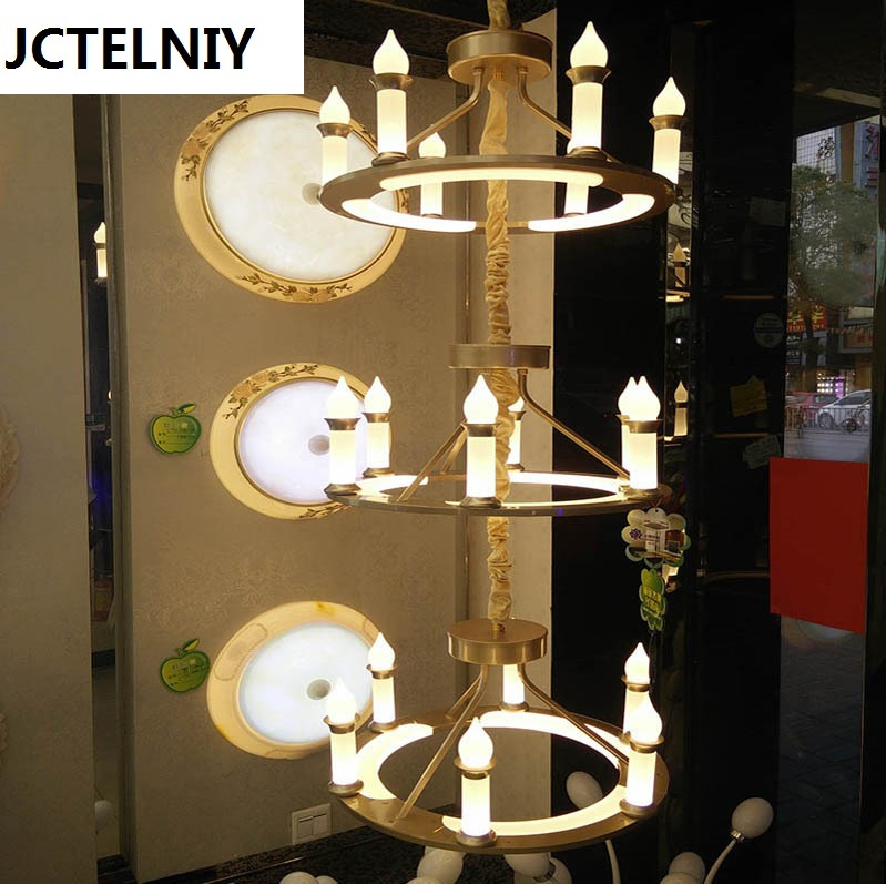 2017 new led candle chandelier three-layer villa hotel droplight can customize stair droplight luxury decoration